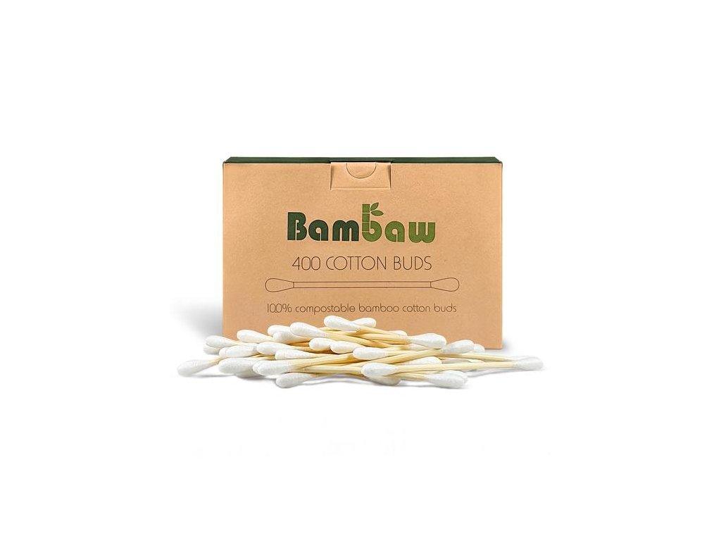 Bamboo Vatové tyčinky do uší z bambusu a bavlny (Barva 400ks)