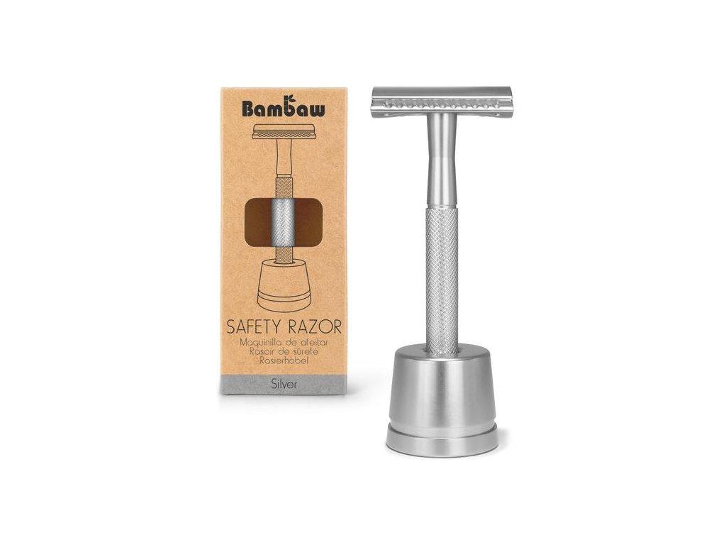 BamBaw Metalický holící strojek se stojánkem (Barva stříbrná)