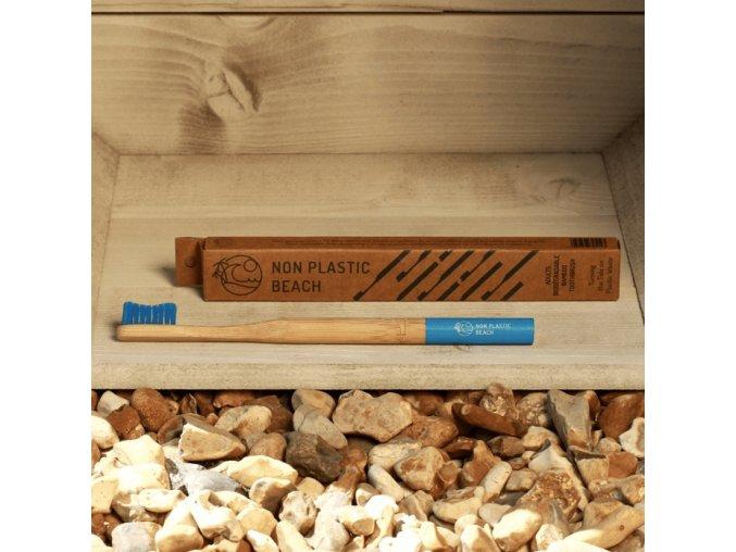 Biologicky rozložiteľný bambusová zubná kefka pre dospelých Bora Bora Modra
