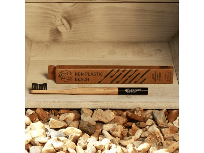 Biologicky rozložiteľný bambusová zubná kefka pre dospelých Baltická čierna