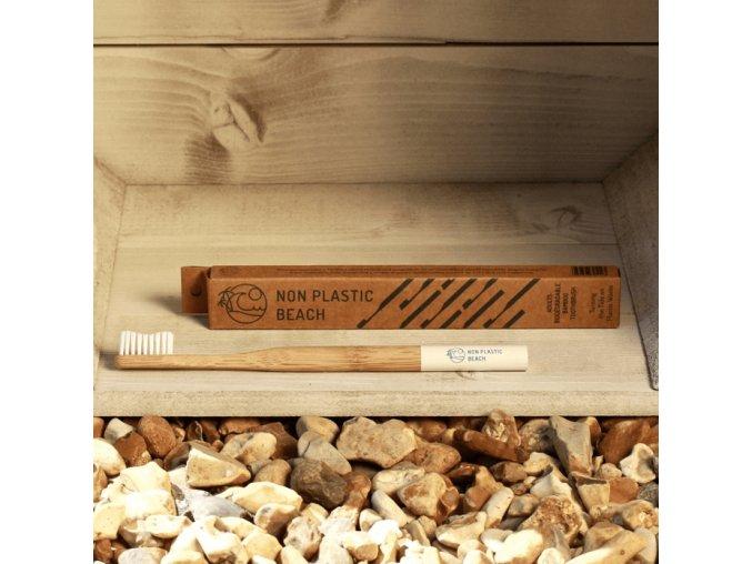 Biologicky rozložiteľný bambusová zubná kefka pre dospelých Articka Biela