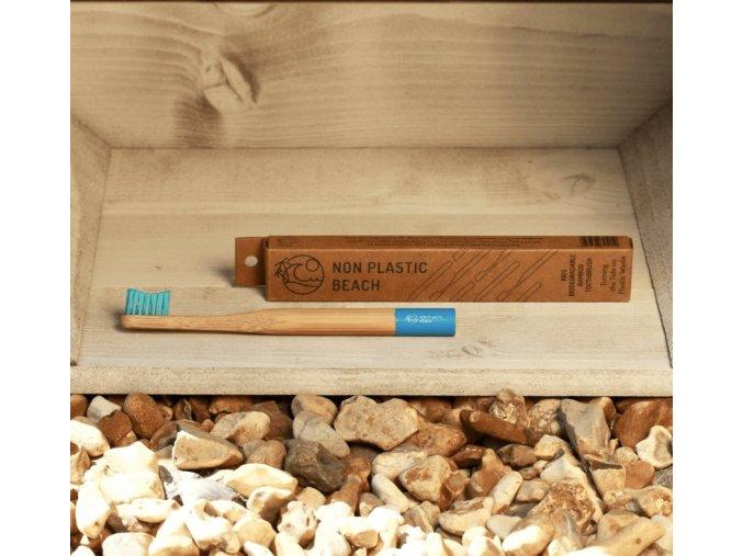 Biologicky rozložiteľný bambusová zubná kefka pre deti Bora Bora Blue