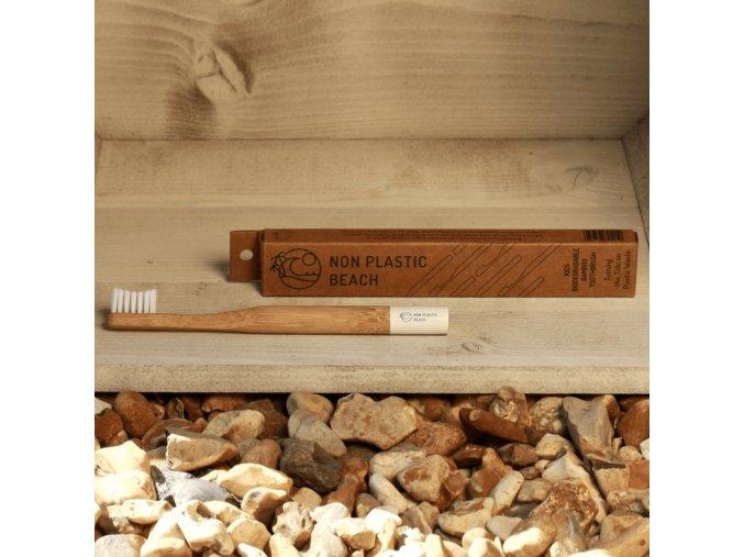Biologicky rozložiteľný bambusová zubná kefka pre deti Arctic White