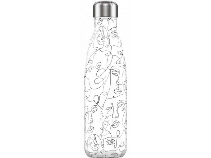 Nerezová fľaška Chilly's Line Art Faces