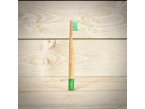 Biologicky rozložiteľný bambusová zubná kefka pre deti Grenada Green