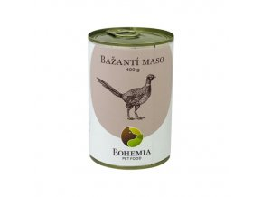 bažanti maso ve vlastni šťávě bohemia pet food ecopets 400 konzerva