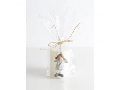 Přírodní vonná svíčka palmová - AROMKA - Dárkové balení váleček + soška andělíček