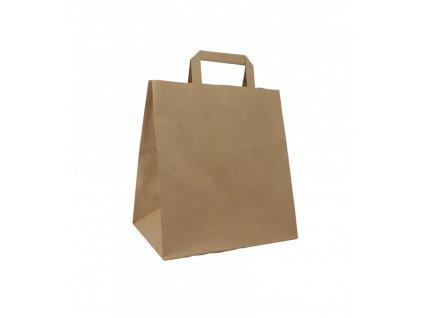 Papírová taška s plochým uchem 280+170x270 mm hnědá 25 ks