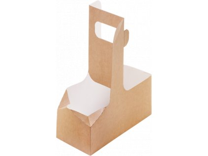 Papírový nosič EKO na 2 kelímky 180x80x70 mm hnědý