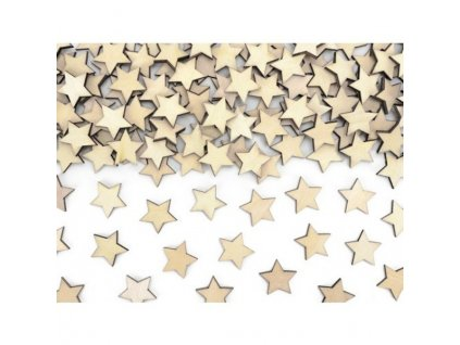 KONFETY Hvezdy drevene 2x2cm 50ks 55KONS3100