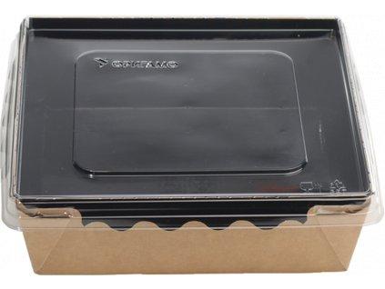 Papírový box / miska EKO na salát 150x150x50 mm hnědo-černý s transp. víčkem bal/100 ks