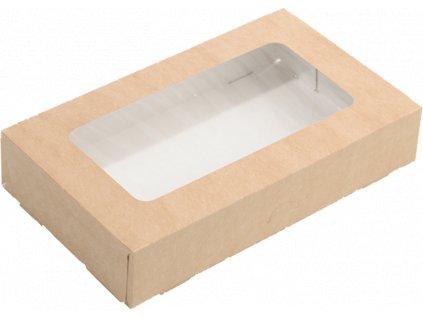 Papírový box EKO na jídlo 200x120x40 mm hnědý s okénkem 1000 ml krt/100 ks