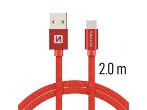 Swissten TEXTILE USB/USB-C 2,0M RED