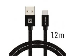 Swissten TEXTILE USB / USB-C 1,2M ČERNÝ