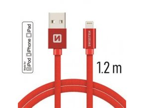 Swissten TEXTILE USB/LIGHT MFi 1,2M RED