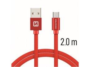 Swissten TEXTILE USB/MICRO USB 2,0M BLK