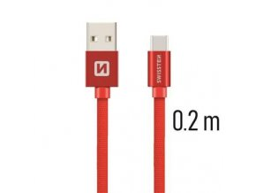 Swissten TEXTILE USB/USB-C 0,2M RED
