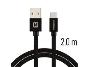 Swissten TEXTILE USB / USB-C 2,0 M ČERNÝ
