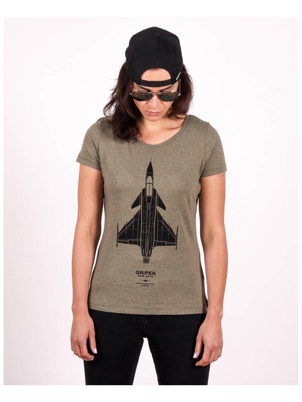 jas39 gripen women t shirt khaki eeroplane02