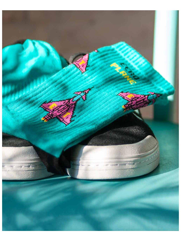 ponozky s letadlem eurofighter typhoon socks eeroplane turquoise05