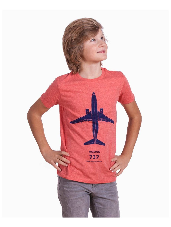 kids tshirt boeing737 detske tricko cerveny melir eeroplane