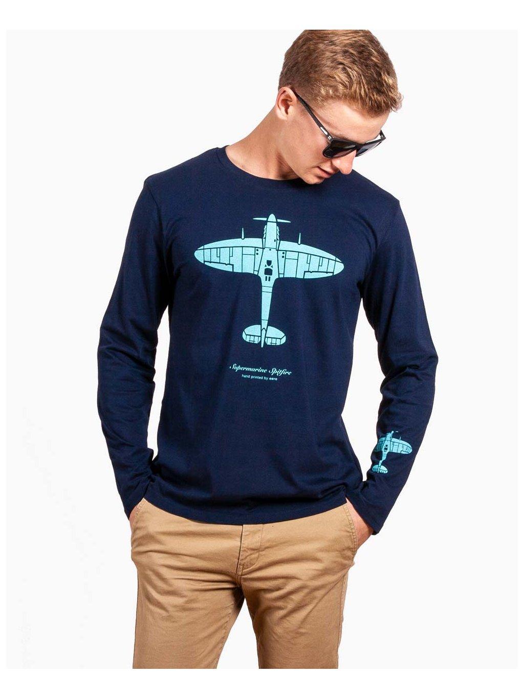 long sleeve aviation tshirt spitfire tricko s dlouhym rukavem navy eeroplane01