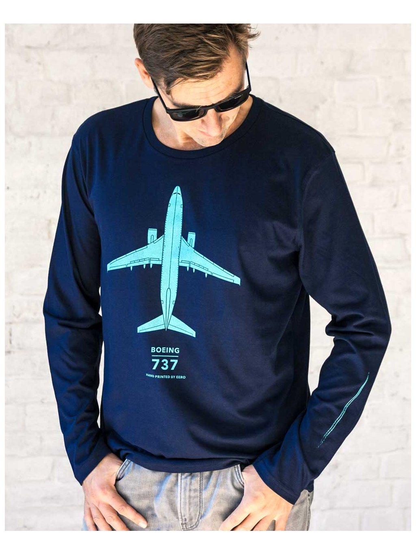 navy long sleeve tshirt boeing737 tricko dlouhy rukav eeroplane02
