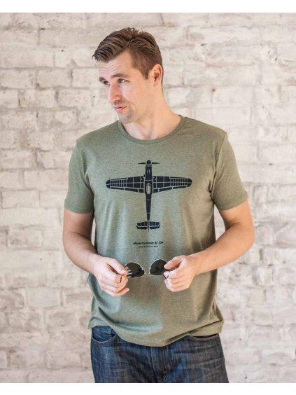 messerschmitt 109 tshirt khakiheather eeroplane02