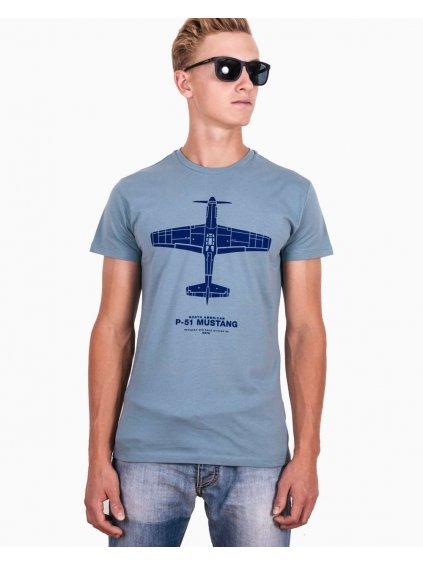 tshirt p51 mustang tricko s letadlem modre eeroplane