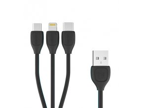 REMAX RC-050th datový kabel 3v1 Micro USB / Micro USB-C / Lightning - černý