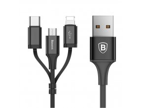 Baseus Excellent USB datový kabel 3v1 Micro USB / USB-C / Apple Lightning 1,2m / 2A
