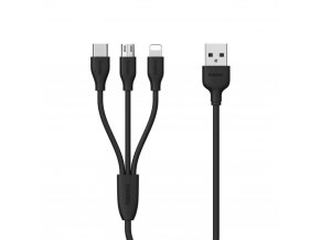 REMAX RC-109th USB kabel 3v1 Micro USB / USB-C / Lightning - černý
