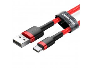 Baseus Cafule USB kabel - Micro USB-C / 2m / 2A red CATKLF-C09