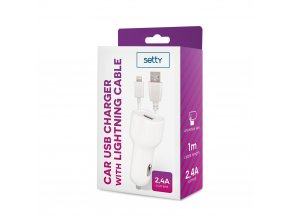Setty USB nabíječka do auta + kabel iPhone Lightning 8pin 2,4A