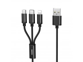 REMAX RC-131th datový kabel 3v1 Micro USB / USB-C / Lightning 2,8A / 1,15m - černý