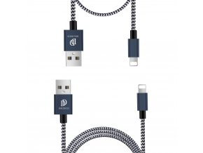 Dux Ducis K-TWO series 2x USB kabel - Apple Lightning 1m / 2A + 0,2m / 3A modrý