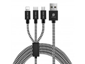 Dux Ducis K-ONE series USB kabel 3v1 - Apple Lightning / USB-C / Micro USB 1,25m / 2,4A