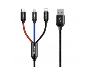 Baseus Three USB kabel 3v1 Apple Lightning / Micro USB / USB-C 1,2m 3,5A CAMLT-BSY01