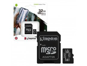 Kingston Canvas Select Plus Micro SDHC 32GB + SD adaptér Class 10 / UHS-I / 100Mb/s