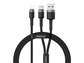 Baseus Cafule kabel USB-C PD + USB / Apple Lightning 1,2m / 18W / 2,4A grey CATKLF-ELG1