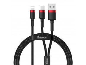 Baseus Cafule kabel USB-C PD + USB / Apple Lightning 1,2m / 18W / 2,4A red CATKLF-EL91