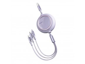 Baseus Bright Mirror USB kabel 3v1 Micro USB / USB-C / Apple Lightning / 1,2m/3,5A violet