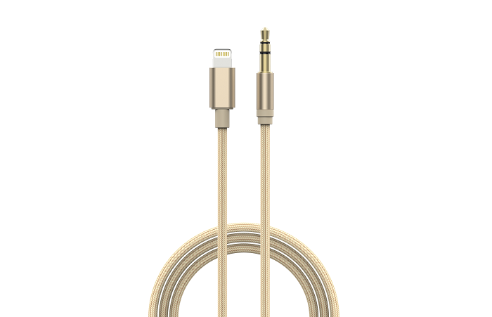 Devia Gracious audio kabel 3,5mm / Ligtning iPhone 7/8/X champagne gold