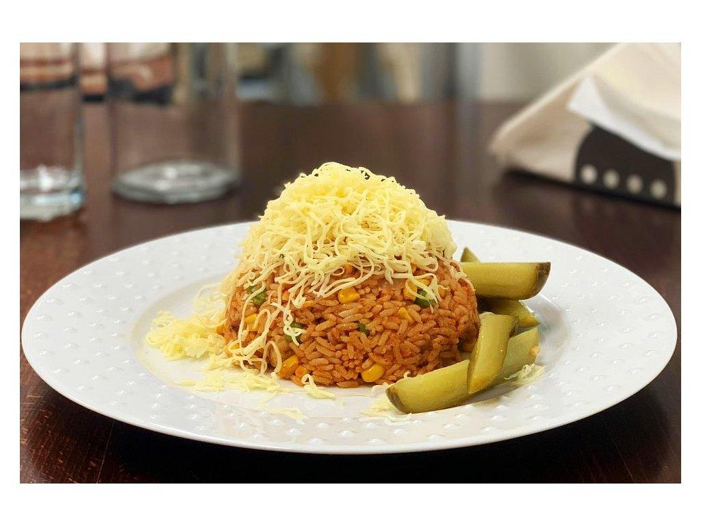 Rizoto s vepřovým masem, zeleninou a sýrem, baleno po 2 porcích