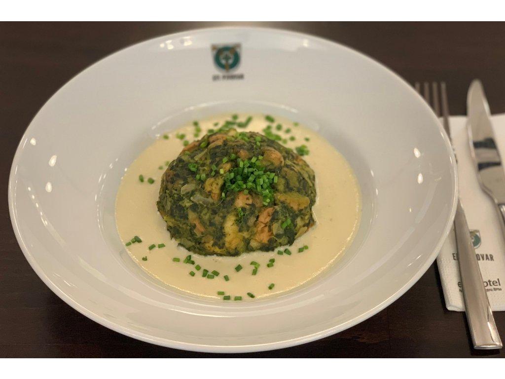 špenátový knedlík z modrého sýra 2ku3
