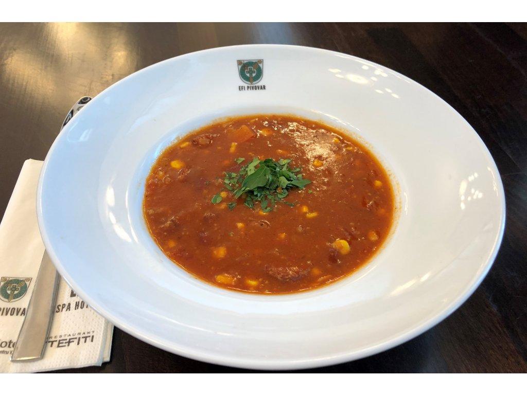 Mexická fazolová polévka s klobásou 2 porce