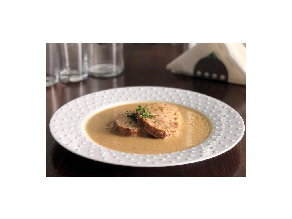 Krůtí prso se špenátovým krémem a fazolky na másle, baleno po 2 porcích