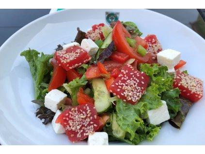Míchaný salát s presovaným melounem a balkánským sýrem 3