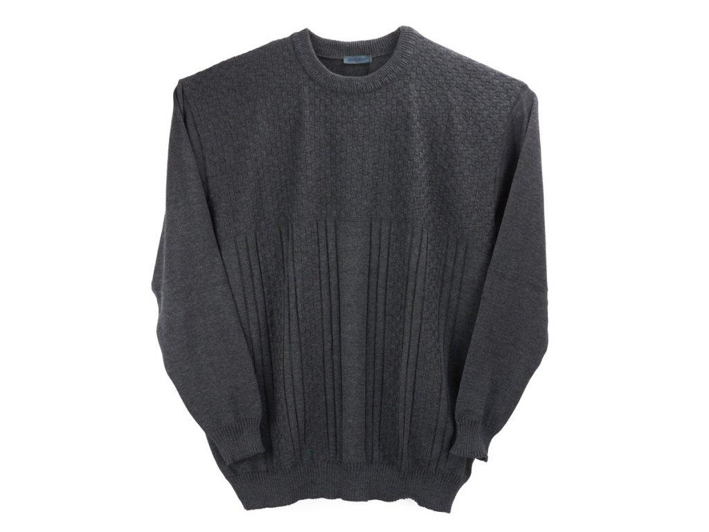 Pánský šedý svetr kombi vzor - Frim 805e41159b