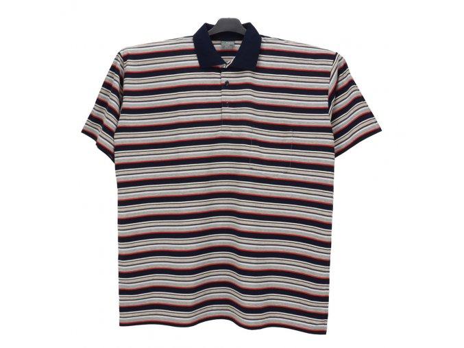 Pánské nadměrné tričko modrá, melír červená KL